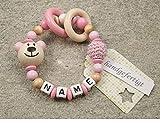 Baby Greifling Beißring geschlossen mit Namen - individuelles Holz Lernspielzeug als Geschenk zur Geburt Taufe - Mädchen Motiv Bär in babyrosa