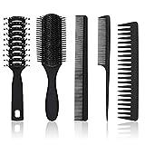 5 Stücke Haarkamm und Bürsten Set Paddel Haarbürste Entwirrende Haarbürsten Schwarzes Haar Styling Kämme für Männer Frauen Nasses, Trockenes, Lockiges und Glattes Haar