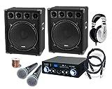 McGrey DJ Karaoke Komplettset PA Anlage Party-2500 (Lautsprecher, 2 x 800 Watt, Bluetooth-Endstufe,...