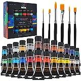 Baozun Acrylfarben 24x35ml Künstlerpinsel 6pcs, Acrylfarben Set Acrylfarbe für Kinder Erwachsene Bastler und Profis Perfekt für Steine, Papier, Keramik, Stoff, Glas und Leinwand