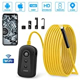 Endoskopkamera Wifi mit 6 licht 2.0MP HD IP67 Wasserdicht 1080P WiFi Endoskop 5.5MM Inspektionskamera mit 2600mAh Akku Halbstarre Endoskop Kamera für Android,iPhone,Smartphone,Tablet-5M