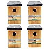 4 x Handy Home and Garden Druckbehandelter Hölzerner Wildvogelhaus-Standardholz-Nistkasten - Natürliche Vogelnistkästen