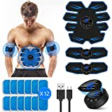 VARNIC EMS Trainingsgerät, EMS Bauchmuskeltrainer USB-Wiederaufladbarer Tragbarer Muskelstimulator,für Bauch,Arm,Bein-Fitness Trainings Gang(Geschken 12Stk Gel Pads) (blau)