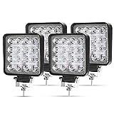 LED Arbeitsscheinwerfer, 4 X 48W Quadrat LED Offroad Zusatzscheinwerfer 12V 24V Scheinwerfer IP67...