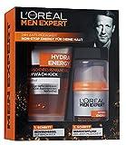 L'Oreal Men Expert Geschenkset Hydra Energy - Pflegeset inkl. Hydra Energy erfrischendem Reinigungsgel Aufwach-Kick + Hydra Energy 24h Anti-Müdigkeit Feuchtigkeitspflege für Männer