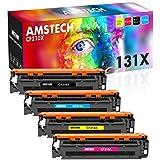 Amstech Kompatibel Tonerkartusche als Ersatz für HP 131X CF210X 131A CF210A 128A CE320A 125A CB540A Laserjet Pro 200 Color MFP M276nw M276n M251nw M251n M276 M251 (Schwarz Cyan Gelb Magenta, 4er-Pack)