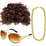 Gejoy Hippie Kostüm Set Funky Afro Perücke Sonnenbrille Halskette für 50/ 60/ 70 Jahre Thema Party (Stil A)