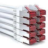 deleyCON 10x 0,5m CAT6 Patchkabel S/FTP PIMF Schirmung CAT-6 RJ45 Netzwerkkabel Ethernetkabel LAN...