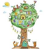WandSticker4U®- Aquarell Wandtattoo DSCHUNGEL BAUM Kinderzimmer I Wandbilder: 120x65 cm I Wanddeko Wandaufkleber Babyzimmer Wald-tiere Fuchs Bär Vögel I Wandsticker für Kinder GROSS