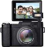 Digitalkamera, 24,0 MP Nachtsicht-Camcorder 3,0 Zoll 180 ° drehbarer Bildschirm Vlogging-Kamera Digitalzoom-Video mit Blitzlicht HD 1080P Digital-Camcorder (R9)