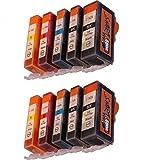 Start - 10 XL Tintenpatronen als Ersatz für Canon PGI-525BK schwarz, CLI-526BK schwarz, CLI-526C cyan, CLI-526M rot, CLI-526Y gelb