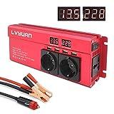 Spannungswandler 12V 230V 1000W / 2000W Wechselrichter mit 3 Steckdose und 4 USB LED...