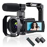 Videokamera 4K WiFi Video Camcorder mit Mikrofon IR Nachtsicht, Full HD YouTube Vlogging Kamera, 3,0 Zoll IPS Touchscreen 48MP 16X Digital Zoom Kamerarecorder mit Fernbedienung