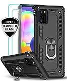 LeYi für Samsung Galaxy A41 Hülle mit Panzerglas Schutzfolie(2 Stück),360 Grad Ring Halter Handy Hüllen Cover Magnetische Bumper Schutzhülle für Case Samsung Galaxy A41 Handyhülle Schwarz