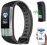 newgen medicals Fitness Tracker: Fitness-Armband mit Blutdruck-, Herzfrequenz- und EKG-Anzeige, IP67...