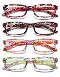 KOOSUFA Lesebrille Damen Blumen Qualität Rechteckige Anti Müdigkeit Brille Lesehilfe Sehhilfe Retro Designer Mode Vollrandbrille mit Stärke 1.0 1.5 2.0 2.5 3.0 3.5 4.0 (4 Farben Set, 4.0)
