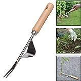 ALWWL Werkzeuge für Gartengabeln, Unkrautstecher Unkrautjäter, Edelstahl-Unkrautjäter, Edelstahl und Holz, für Pflanzen Jäten Garten Bauernhof, für Pflanzen Jäten Garten Bauernhof
