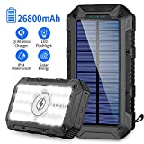 Solar Powerbank 26800mAh 2020 Neuestes Solarladegerät Qi Wireless Tragbares Ladegerät Schnelles Aufladen Externer Akku mit 4 Ausgängen(3 USB+Qi)/2 Eingabe (Micro+Solar) 28 LED Taschenlampe Power Bank