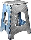 STARK Hocker/Klapphocker/Tritthocker mit Griff, zusammenklappbar, bis 120 kg, Höhe 44 cm in grau- blau für Küche, Bad, Garten