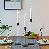 Wuudi Kerzenständer Set 3 Kerzenhalter aus Metall Vintage Kerzenständer Tischdeko schwarz 24/28/33cm