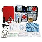 TRSCIND Erste-Hilfe-Set mit 2 Stück Einweg OP-Maske, Survival Kit Set mit Taschenlampe Feuerstahl und Rettungsdecke 130-teilig
