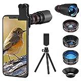 Handy Objektiv Linse Kit Lens Set 22X Teleobjektiv, 25X Makro Objektiv, 0,62X Weitwinkel, 235° Fischaugenobjektiv für iOS iPhone und meisten Android Smartphone