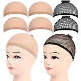 FANDAMEI 6 Stück Perückenkappe Perücke Kappen Haarnetz Perücke Set Nylon Wig Caps Perückennetz Unterziehhaube Dehnbare Elastische Atmungsaktive 4 Nackt Beige Perückenkappen + 2 Schwarze Haarnetz
