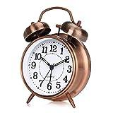 otumixx Doppelglockenwecker Analog Quarzwecker mit Nachtlicht | Lauter Alarm | Kein Ticken | Geräuschlos Retro Wecker, großes Zifferblatt von 4 Zoll - Bronze