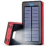 Solar Powerbank 30000mAh Externer Akku, Solar Ladegerät mit LED Licht, 4 Ausgänge und 3 Eingangswege, Tragbares Handy Ladegerät Power Bank für Smartphones, Tablets und USB-Geräte