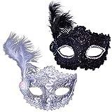 AISHNA Maskerade Maske, Venetian Karneval, Halloween, 2Pcs Kostüm Federn Maske,perfekt für Damen Federn Mask. perfekt für Party / Ball Prom / Mardi Gras / Hochzeit / Wanddekoration.