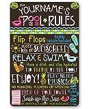 MUSTYDF Personalisierbares Metallschild Pool Rules, langlebig, für drinnen und draußen geeignet, ideal als PoolResort-Dekoration
