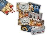 jameitop8 x 50er Packungen XL Streichholzschachteln, 10cm mit Weihnachten/Christmas Design Streichhölzer Zündhölzer