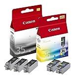 5x Original Tintenpatrone Canon Pixma IP 110, PGI35, CLI36 - 3x BLACK, 2x COLOR