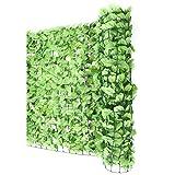 Mendler Balkonsichtschutz N77, Sichtschutz Windschutz Verkleidung für Balkon Terrasse Zaun - 300x100cm Blatt hell