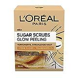 L'Oréal Paris Sugar Scrubs Glow Gesichtspeeling, mit Zucker und Traubenkern-Öl, für eine glatte und strahlende Haut, 2er Pack(2 x 15 ml)