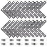 Winkelverbinder Flache Winkel Klammern L-form Rechtwinkliges Edelstahl Ecke Klammer Möbel Angle Brackets mit Screws für Tabelle Stuhl Bücherregal 80 * 80mm 20 Stücke