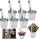 esto24® 6er Set Hängetopf Pflanztopf Übertopf mit Haken Silber Zink Blumentopf Vase Balkon Garten