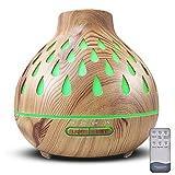 Duftöldiffusoren, Aroma Diffuser, 500ml Luftbefeuchter Ultraschall Duftlampe Atomization Elektrisch Diffusor mit 7 Farben LED Ätherische Öle Luftbefeuchter für, Yoga, Büro, Schlafzimmer (Hellbraun)