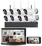 VisorTech Überwachungskamera: Funk-Überwachungssystem: HDD-Rekorder, 8 Full-HD-Kameras, App-Zugriff (Kamera Set)