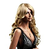 SONGMICS Perücke Frauen Damen Haar Wigs lockig Lang Blond für Karneval Fasching Cosplay Party Kostüm WFY016