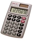 Genie 510 8-stelliger Taschenrechner (Dual-Power (Solar und Batterie), kompaktes Design) grau