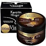 VISAGE Haarmaske Argan oil & Keratin   Haarkur strapaziertes und trockenes Haare   Hair Mask für gefärbte Haare Pflege & Haarglättung   Feuchtigkeitsspendend, Tierversuchsfrei, Premium Treatment 500ml