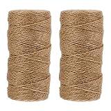 STOBOK Garten Kordel Bastelschnur 2 Pack, 200M Dick 3 Ply 3mm Natürliche Jute Schnur, schwere Verpackung String Weihnachtsgeschenk Bindfäden langlebigE Verpackung String für Geschenke Verpackung