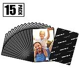 Magnetische Fototaschen, Magiclfy 15 Stück Magnet Bilderrahmen Fotorahmen für Fotos Postkarten von 10 x 15 cm für Kühlschrank, Schwarz