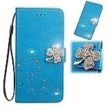 Nokia 5.4 Hülle für Mädchen Glitzer Sparkle Bling Handyhülle 3D Gems Lucky Clover Stoßfest Leder Wallet Flip Schutzhülle TPU Bumper Ständer Kartenfächer für Nokia 5.4 - Blau