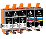 SupplyGuy 5 Druckerpatronen kompatibel mit Canon PGI-35 CLI-36 für Pixma IP100 IP110 IP110 + Battery IP110 Series MINI260 TR150 IP100v IP110 Battery 260 Mini