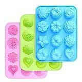 homEdge Silikon-Blumen-Formen in Lebensmittelqualität, Backform mit Blumen und Herz-Form, Antihaft-Silikon-Formen für Schokolade, Süßigkeiten, Gelee, Eiswürfel, Muffin (Rosa, Blau und Grün)