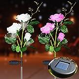 Bizcasa 2 Stück Solarleuchte Garten, Rose Blume Solarlampen für Außen, LED Lichter Rose Blume Solar Gartenleuchte, Lampen Rose Solarlichter für den Garten/Rasen/Feld/Terrasse/Weg/Dekoration
