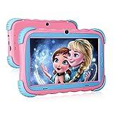 Kinder Tablet, Android 9.0 Lerntablet für Kids, 2 GB + 16 GB, 7-Zoll-HD IPS Touchscreen, WLAN Kamera Kindersicher Hülle Jungen Mädchen, Rosa
