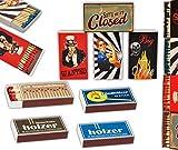 jameitop 8 x 45er Schachteln Streichholzschachteln, 10cm Vintage Werbung Sturmhölzer Retro Nostalgie Streichhölzer Zündhölzer